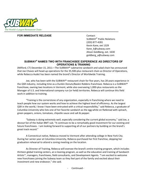 For Immediate Release Subway Names Two With Franchisee