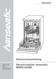 Gebrauchsanleitung Geschirrspüler hanseatic WQP8-9226D - Schwab