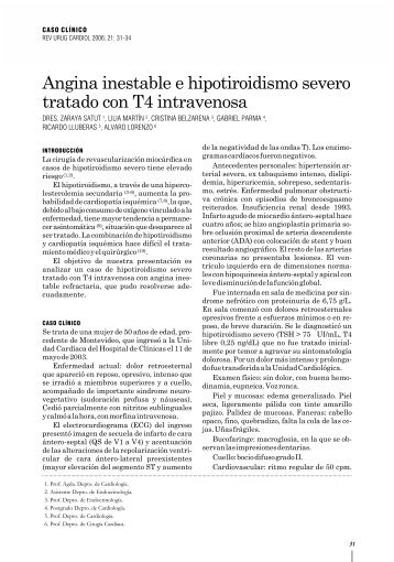 Angina inestable e hipotiroidismo severo tratado con T4 intravenosa