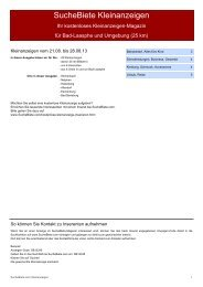 SucheBiete Kleinanzeigen-Magazin Bad Laasphe - Kostenlose ...