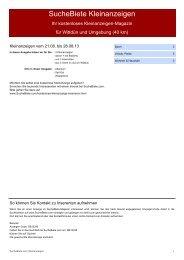 SucheBiete Kleinanzeigenzeitung Wittdün - Kostenlose Kleinanzeigen