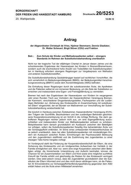 Zum Schutz der Kinder und Methadonpatienten ... - Sucht-Hamburg
