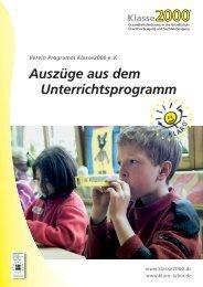 Auszüge aus dem Unterrichtskonzept Klasse 2000