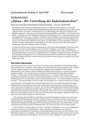 Odsun - Die Vertreibung der Sudetendeutschen - Sudetendeutsches ...