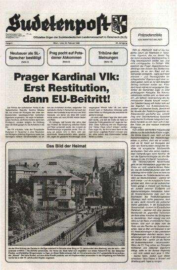 Prager Kardinal Vlk: Erst Restitution, dann EU-Beitritt! - Sudetenpost