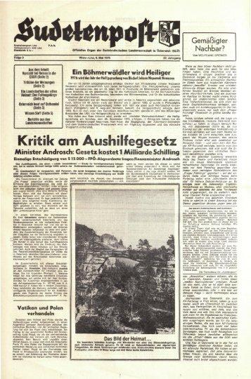Kritik am Aushilfegesetz - Sudetenpost