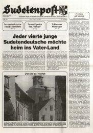 Jeder vierte junge Sudetendeutsche möchte heim ins ... - Sudetenpost