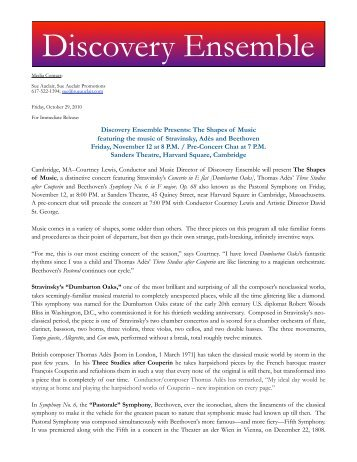 Discovery Ensemble - Sue Auclair Promotions