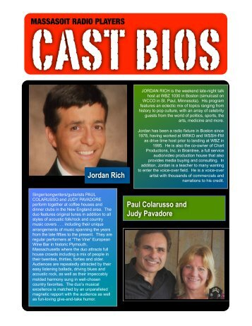 massasoit radio players cast bios - Sue Auclair Promotions