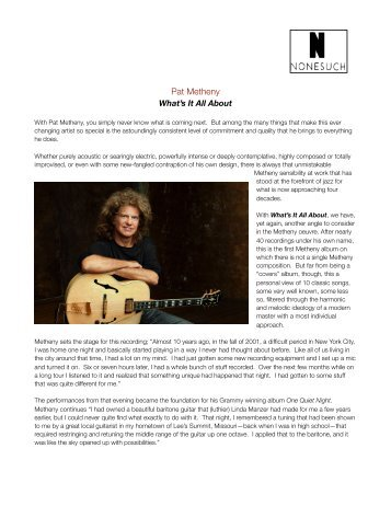 Pat Metheny - Sue Auclair Promotions