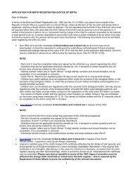 APPLICATION FOR BIRTH REGISTRATION (NOTICE OF BIRTH ...