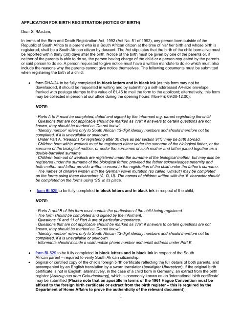 APPLICATION FOR BIRTH REGISTRATION (NOTICE OF BIRTH
