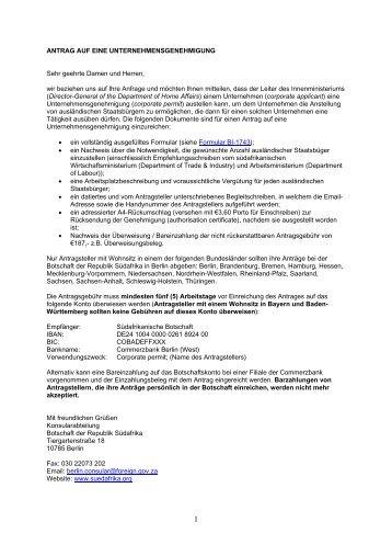 Unternehmensgenehmigung - Südafrika