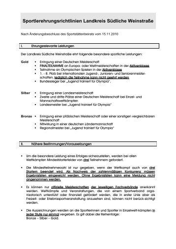 Richtlinien Sportlerehrung - Landkreis Südliche Weinstraße