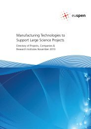 Manufacturing Technologies to Support Large Science ... - Euspen