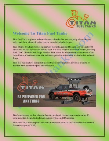 Welcome To Titan Fuel Tanks