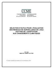 Sélection d'outils pour l'évaluation des réseaux de ... - CCME