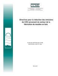 Directives pour la réduction des émissions de COV ... - CCME