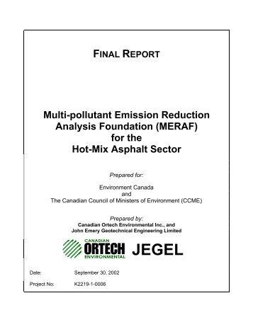 for the Hot-Mix Asphalt Sector - CCME