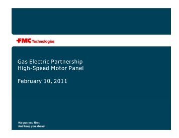 Gas Electric Partnership High-Speed Motor Panel February 10, 2011
