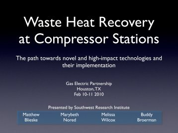 Waste Heat Reduction Options - Gas/Electric Partnership