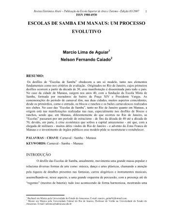 ESCOLAS DE SAMBA EM MANAUS: UM PROCESSO EVOLUTIVO