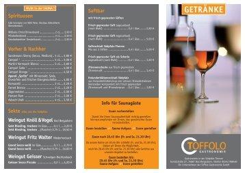 Getränkekarte - Südpfalz Therme