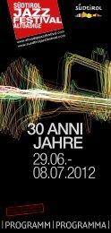 | Programm | Programma | - Südtirol Jazzfestival