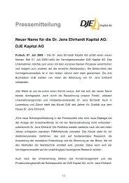 Neuer Name für die Dr. Jens Ehrhardt Kapital AG - DJE Kapital AG