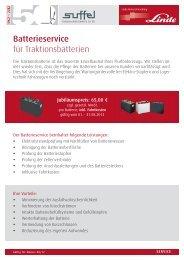 Batterieservice für Traktionsbatterien - suffel