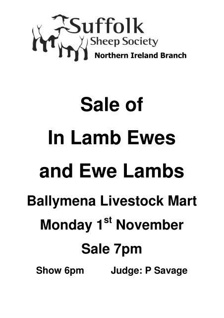Sale of In Lamb Ewes and Ewe Lambs - Suffolk Sheep Society
