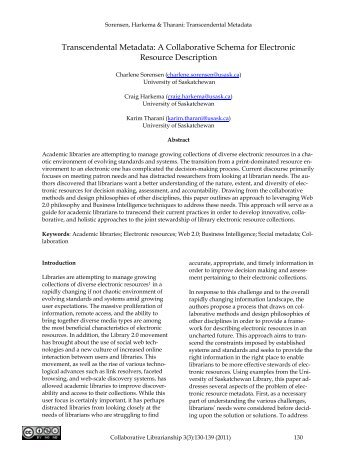 Transcendental Metadata: A Collaborative Schema for Electronic ...