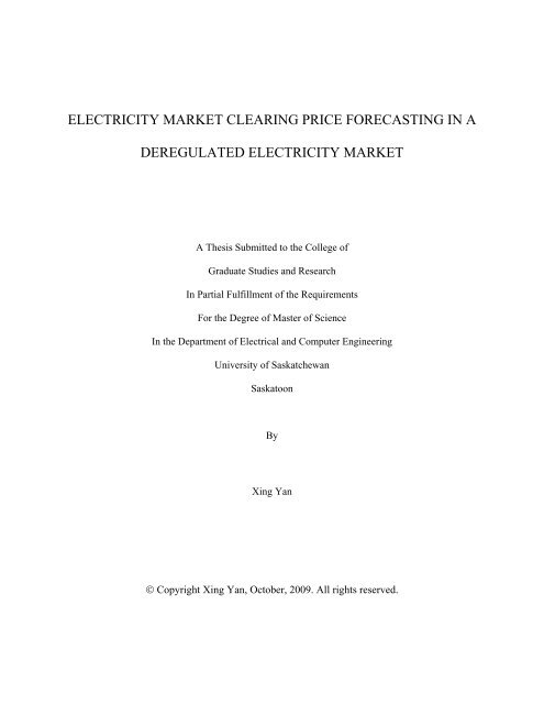 electricity market clearing price forecasting in a deregulated ...