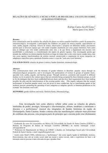 RELAÇÕES DE GÊNERO E A MÚSICA POPULAR ... - Anppom