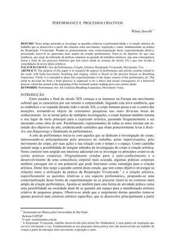 PERFORMANCE E PROCESSOS CRIATIVOS Wânia ... - Anppom