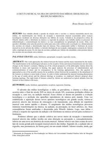 A ESCUTA MUSICAL NA ERA DO ADVENTO DAS MÍDIAS - Anppom