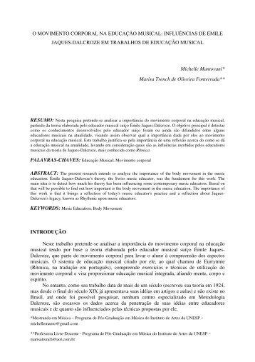 O MOVIMENTO CORPORAL NA EDUCAÇÃO MUSICAL ... - Anppom