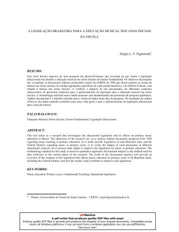 A legislação brasileira para a educação musical - Anppom