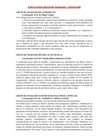 EMENTAS DOS GRUPOS DE TRABALHO – ANPPOM 2009 ...