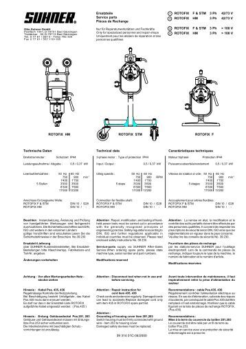 Ersatzteile Service parts Pièces de Rechange Technical data ...