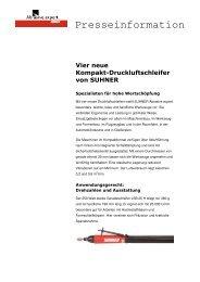 Vier neue Kompakt-Druckluftschleifer von SUHNER Spezialisten für ...