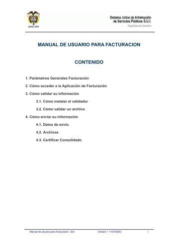 manual de usuario para facturacion contenido - Sistema Unico de ...