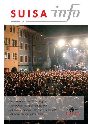 Generalversammlung 2005 in Lugano Wahrnehmung der ... - Suisa
