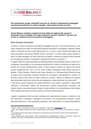 Pari opportunità: gruppi vulnerabili come per es ... - Suisse Balance