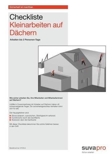 Checkliste Kleinarbeiten auf Dächern - Suva