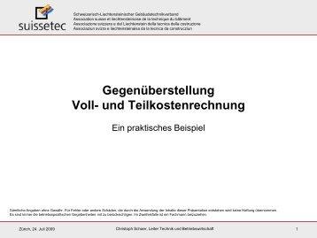 praxisbeispiele fr voll und teilkostenrechnung 706 suissetec - Teilkostenrechnung Beispiel