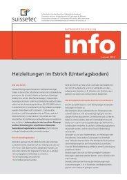 Heizleitungen im Estrich (Unterlagsboden) - Suissetec