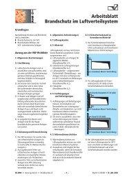Arbeitsblatt Brandschutz im Luftverteilsystem - Suissetec