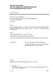 Bundesratsbeschluss über die ... - admin.ch
