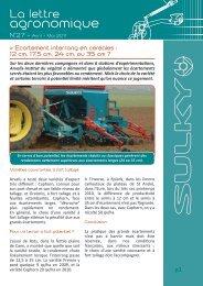 La lettre agronomique - Sulky Burel